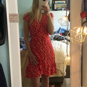 j. crew floral red wrap dress